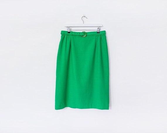 Vintage 1970s Bright Green Belted Knee Length Skirt, Size 16