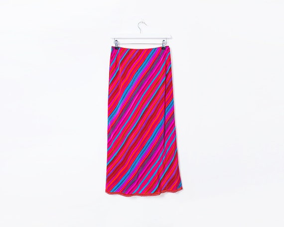 Vintage 90s Red, Pink & Blue Striped Midi Skirt, Size 8