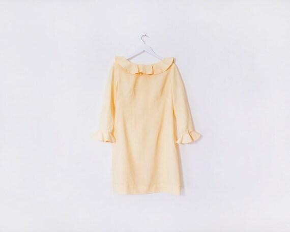 Vintage 1980s Pastel Yellow Ruffle Long Sleeved Mini Dress, Size 16