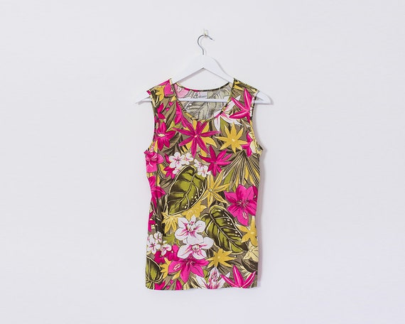 Vintage 1990s Retro Tropical Pink and Green Botanical Print Top, Size 14
