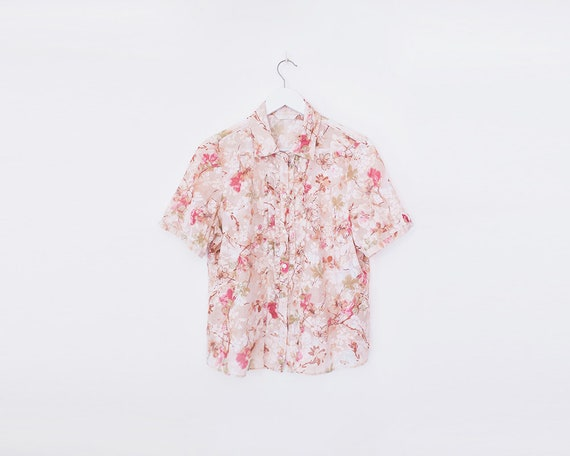 Vintage 1990s Pink Floral Short Sleeved Collared Ruffle Blouse, Size 16