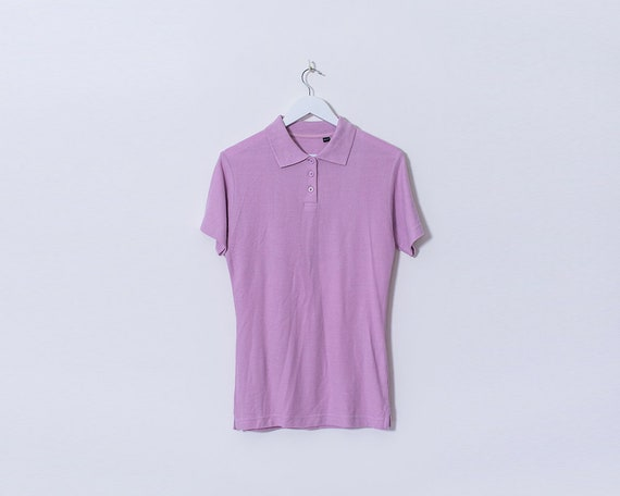Vintage 1980s Lilac Short Sleeved Polo T Shirt, Size 10