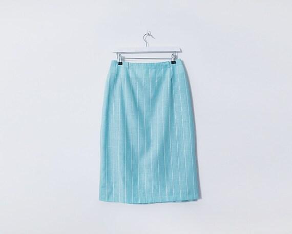 Vintage 1970s Turquoise and White Pinstripe Midi Skirt, Size 12