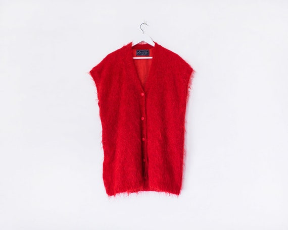 Vintage 1980s Red Fluffy Button Up Sleeveless Cardigan, Size 20