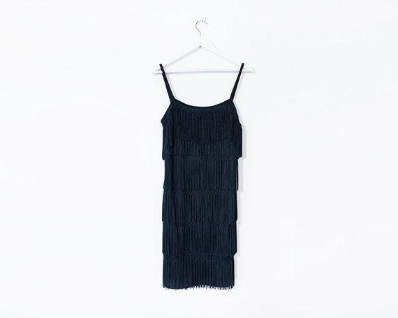 Vintage 1980s Black Tasseled Flapper Style Mini Dress, Size 12
