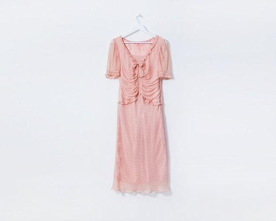 Vintage 1990s Wartime 40s Style Dusty Baby Pink Polka Dot Tea Dress, Size 10
