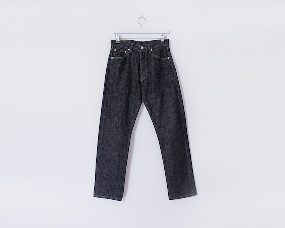 Vintage 1990s Unisex Levi 501s Dark Off Black Straight Leg Jeans, W29 L34