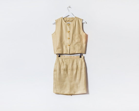 Vintage 1960s Co-ord Matching Beige Crop Top & Mini Skirt, Size 10