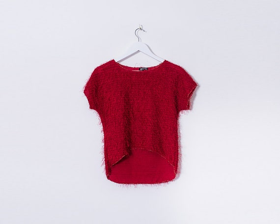 90s Fringed Red Dipped Hem Sequin Gold T Shirt, Size 10