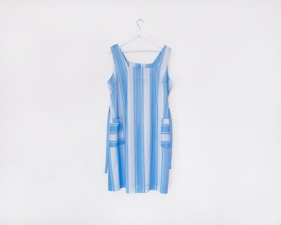 Vintage 1980s Blue and White Striped Pocket Tie Dress, Size 20