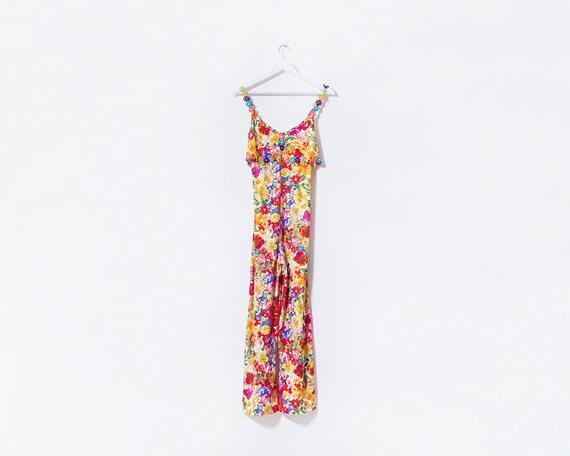 Vintage 1990s Multicoloured Floral Jumpsuit with Daisy Detail Straps, Size 8