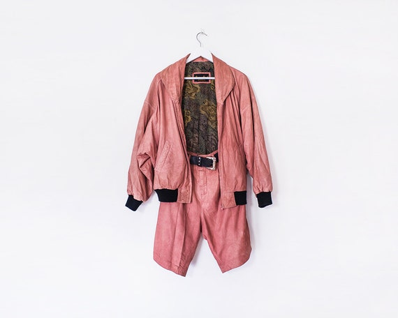 Vintage 1980s Dusty Pink Real Leather Jacket and Matching Shorts with Belt, Size 10