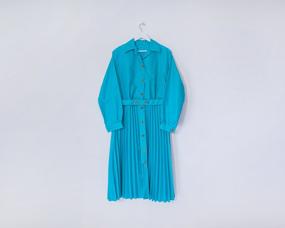 Vintage 1980s Bright Aqua Blue Pleated Skirt Belted Rain Mac Coat, Size 18