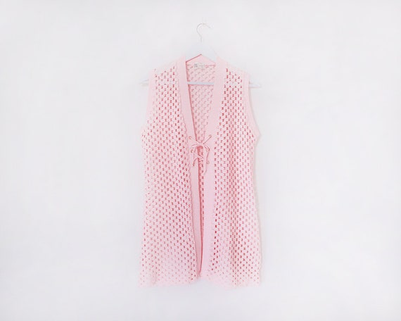 Vintage 1970s Baby Pink Crochet Style Knitted Mini Dress Cardigan, Size 10