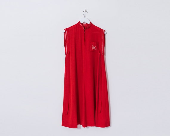 Vintage 1970s Red Embroidered High Round Collar Sleeveless Tie Midi Dress, Size 8
