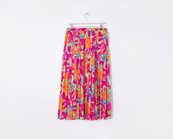Vintage 1980s Bright Multicoloured Floral Pleated Midi Skirt, Size 10
