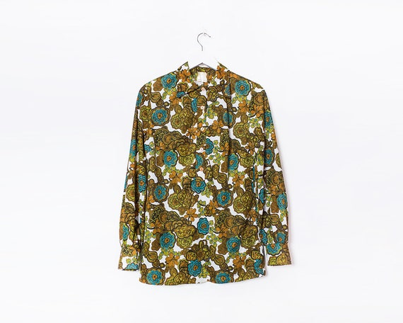 Vintage 1970s Psychedelic Hippy Flower Power Half Buttoned Long Sleeved Blouse, Size 12