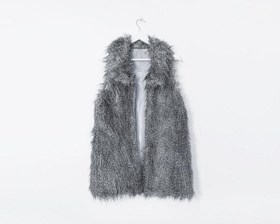 Retro 90s Grey Faux Fur Gilet Waistcoat, Size 14