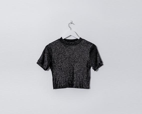 Retro 1990s Black and Silver Glittery Crop Top, Size 12