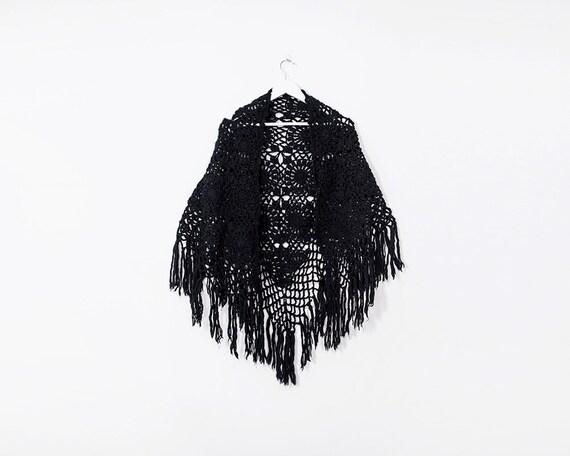 Vintage 1990s Black Chunky Woollen Crochet Poncho with Tassels