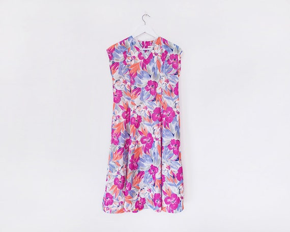 Vintage 1980s Floral A-Line Midi Dress, Size 14