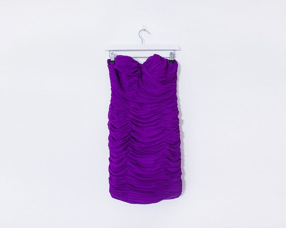 Vintage 90s Ruched Purple Strapless Wiggle Mini Dress, Size 6