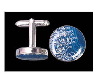16mm circular mens cuff links made from recycled computer circuit boards