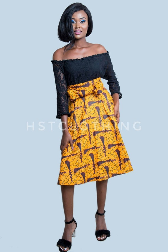 264a6e6363 Misi Ankara skater skirt with sash African skirtAfrican midi | Etsy