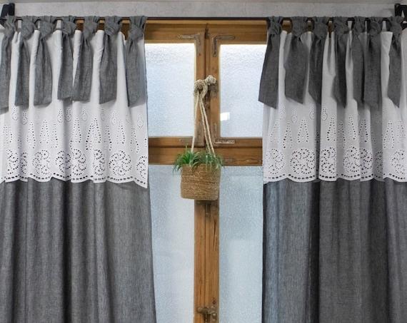 Shabby chic grey linen curtain
