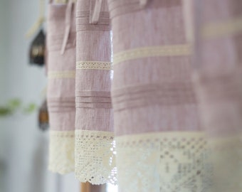 Pink washed linen cafe curtain, shabby chic linen valance with lace