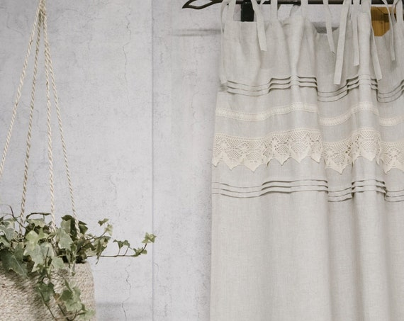Oatmeal linen curtain panel, stonewashed linen curtain with lace