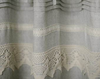 Natural linen curtain panel, stonewashed linen curtain with lace