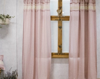 Shabby Chic pink curtains, pink linen curtains on ties