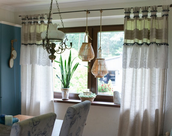 Beige linen ruffle curtain with pompoms and embroidery