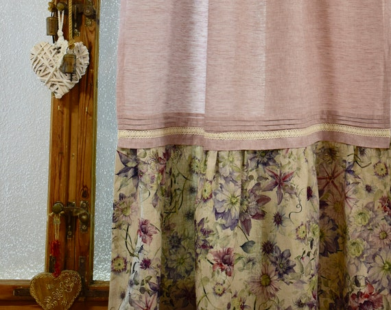 Shabby Chic linen curtain panel with ruffle and flower pattern pink