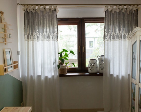 Linen curtain with embroidered gray cotton
