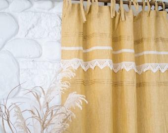 Yellow ochre linen curtain, mustard linen drape, boho linen curtain