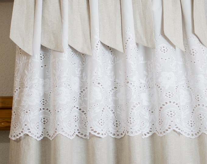 Featured listing image: Boho Chic Curtains, Farmhouse Curtains, Natural Curtains, Vintage Chic Curtains, Farmhouse Chic Curtains, Shabby Curtains,Embroidery Curtain
