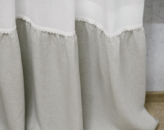Top ties linen curtain panel in two colors. Color block window or door curtain in custom sizes.