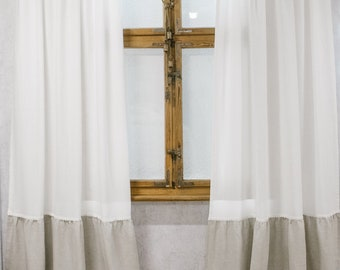 Prairie curtains, ruffle bottom curtains, shabby chic curtains, country ruffles