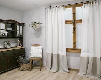 Linen ruffle curtain / natural linen curtain / linen drapes