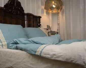 Old Blue Stonewashed Linen Duvet Set Bedding - Softened Linen Custom Sizes