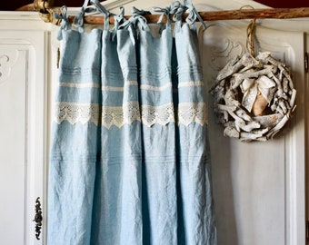 Stonewashed linen curtain. Top ties curtain. Boho curtain