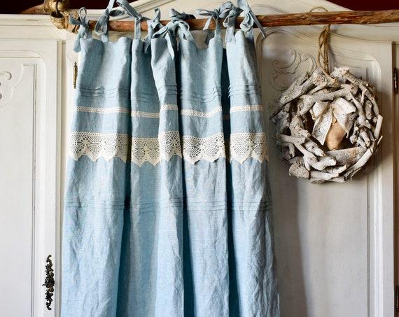Stonewashed linen curtain. Top ties curtain. Boho curtain