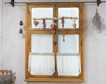 Cafe curtain kitchen cotton ecru embroidery farmhouse country style boho chic french curtain