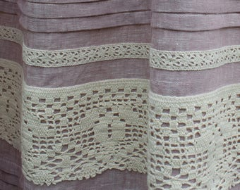 Linen curtains. Stonewashed linen curtain. Softened linen curtain. Linen curtain with ties. Linen window panel.  Ties top. Rustic lace.