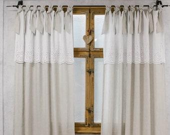 Boho Chic Curtains, Farmhouse Curtains, Natural Curtains, Vintage Chic Curtains, Farmhouse Chic Curtains, Shabby Curtains,Embroidery Curtain