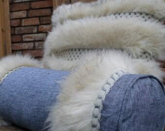 Faux Fur Pillow, Pillow case, Stonewashed Linen Pillow, Designer Pillow, Fake fur Pillow, Fur Bolster, Scandinavian Style, Hygge Pillow