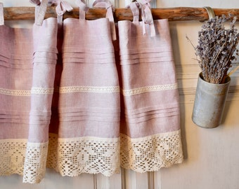 Linen cafe curtains. linen kitchen curtains. cottage kitchen. French cottage. Rustic lace. Shabby chic cafe curtains. Ties top.