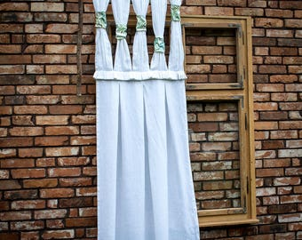 White Stonewashed linen curtain, Washable Kraftpaper Curtain, Washpapa Curtain, Boho Chic, Farmhouse Country French Cottage, Vegan leather